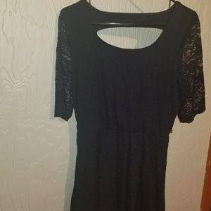 Navy blue open back lace dress